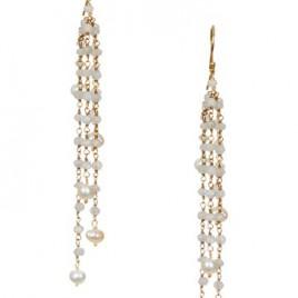Fresh Water Pearl and Moonstone Tassell Earrings