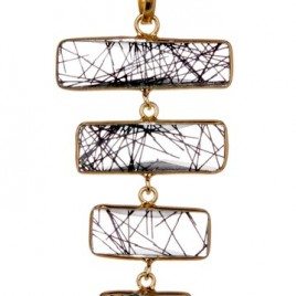 Gold vermail and Rutilated quartz ladder Necklace