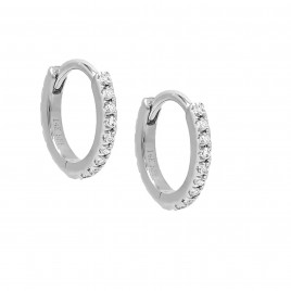 Diamond Mini Cartilage Huggie Earring 14K White