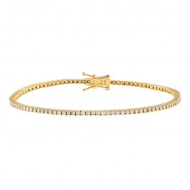 Diamond Thin Tennis Bracelet 14K Yellow